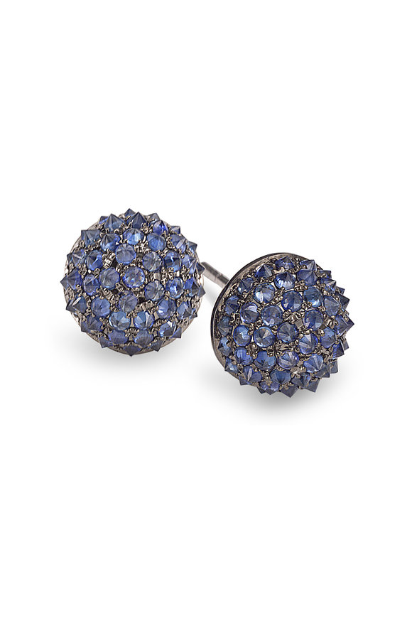 Nam Cho 18K White Gold Sapphire Half Ball Earrings