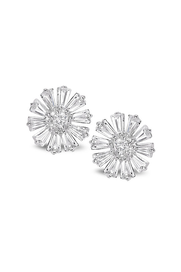 Nam Cho 18K White Gold Diamond Flower Earrings