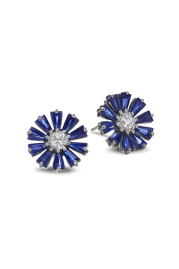 Nam Cho 18K White Gold Blue Sapphire Flower Earrings