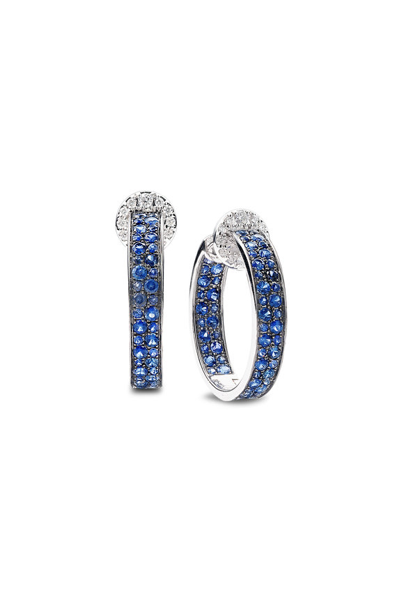 Nam Cho 18K White  Gold Two Row Sapphire Hoop Earrings