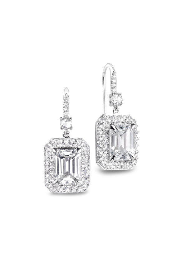Nam Cho 18K White Gold Double Drop Zircon Earrings