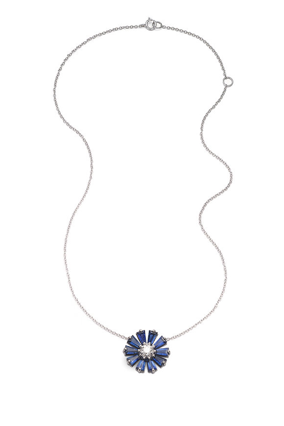 Nam Cho 18K White Gold Sapphire Flower Necklace