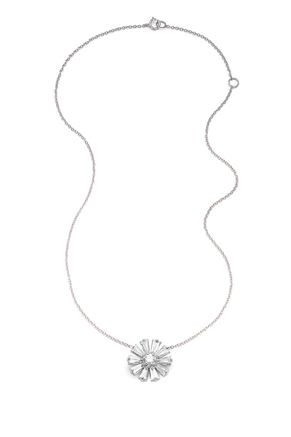 Nam Cho 18K White Gold White Diamond Flower Necklace