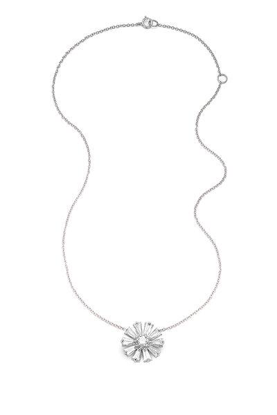 Nam Cho - 18K White Gold White Diamond Flower Necklace
