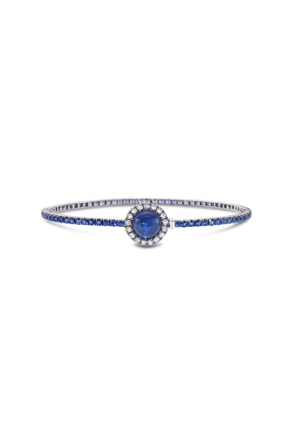 Nam Cho 18K White Gold Kyanite, Sapphire & Diamond Bangle