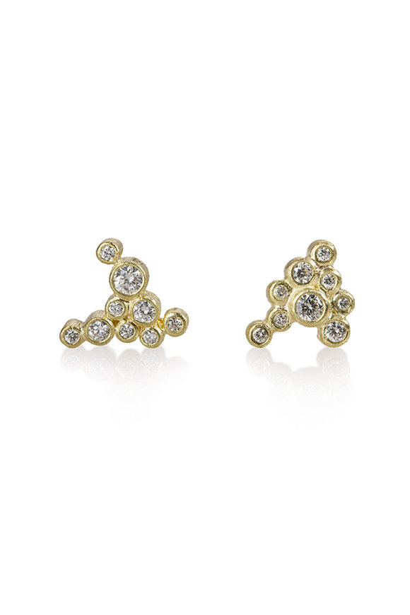 Todd Reed 18K Yellow Gold White Diamond Earrings