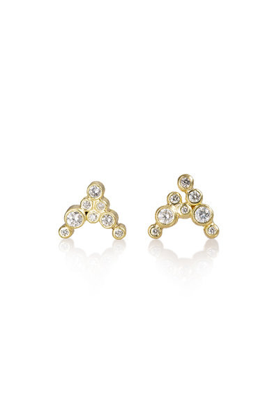 Todd Reed - 18K Yellow Gold White Diamond Earrings