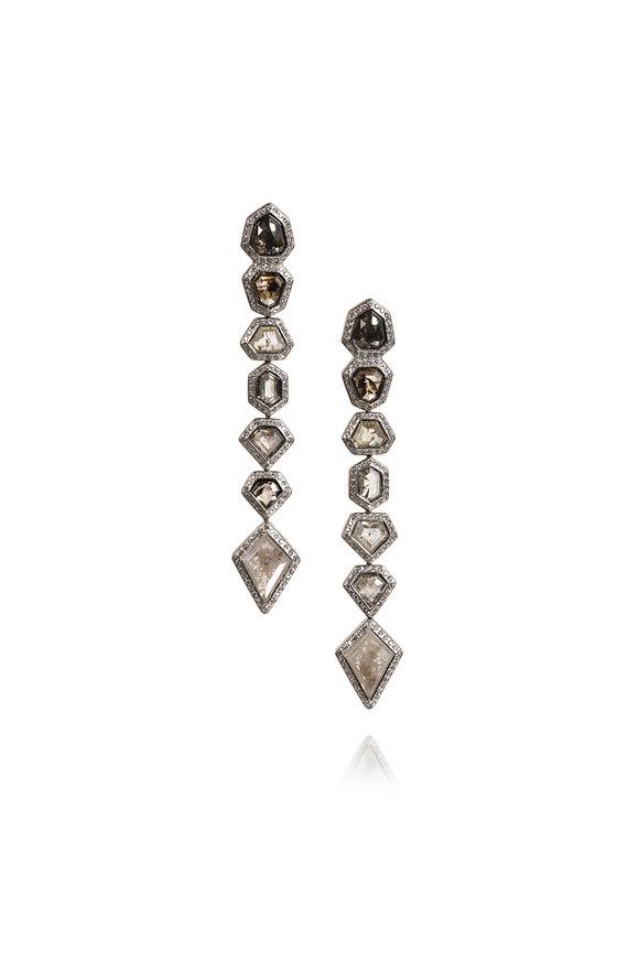Todd Reed 18K White Gold Diamond Dangle Earrings