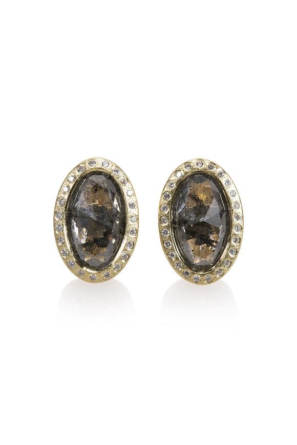 Todd Reed 18K Yellow Gold Diamond Button Earrings