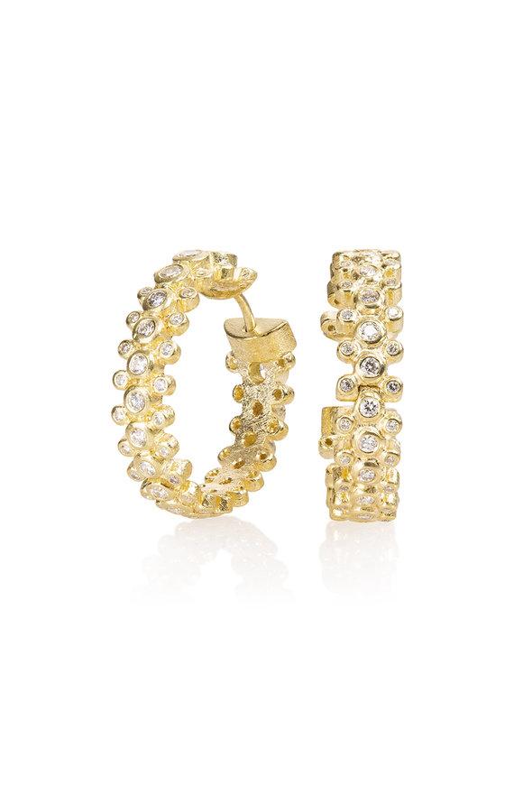 Todd Reed 18K Yellow Gold Diamond Huggie Earrings