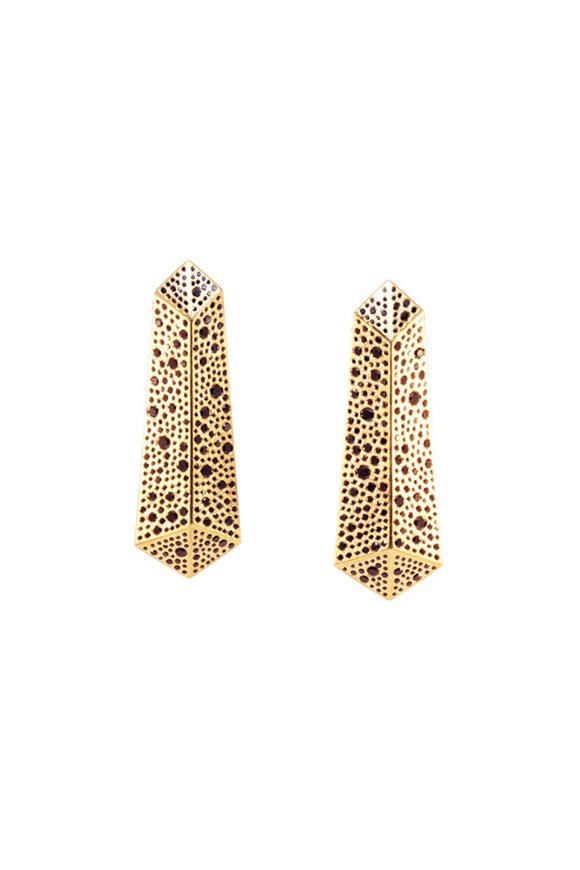 Todd Reed 18K Yellow Gold Black Diamond Dangle Earrings
