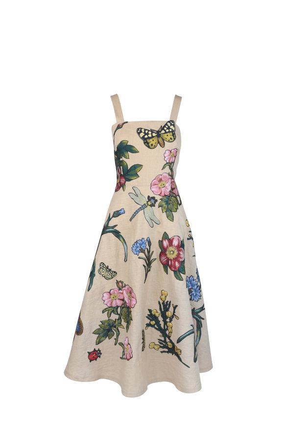 Oscar de la Renta Beige Linen Floral Embroidered Dress