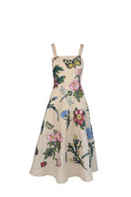 Oscar de la Renta - Beige Linen Floral Embroidered Dress