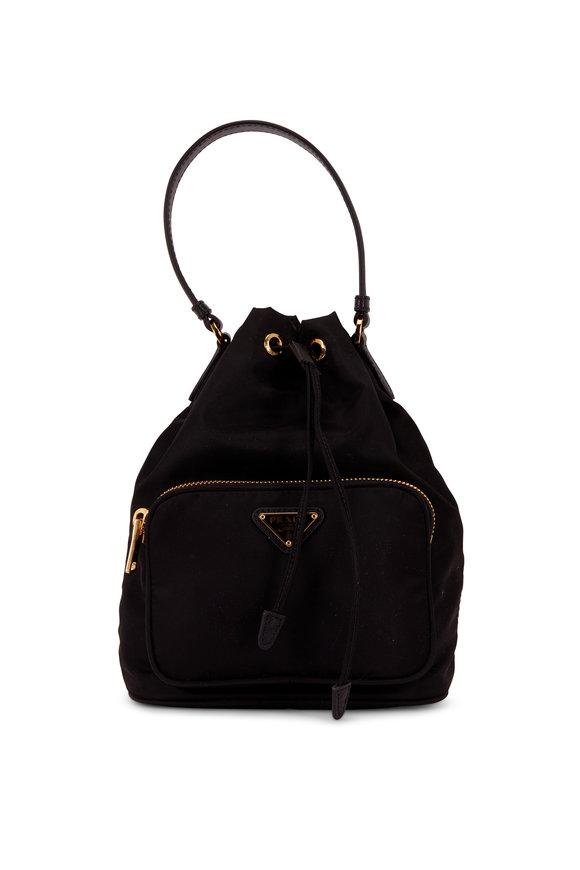 Prada Black Tessuto Small Bucket Bag