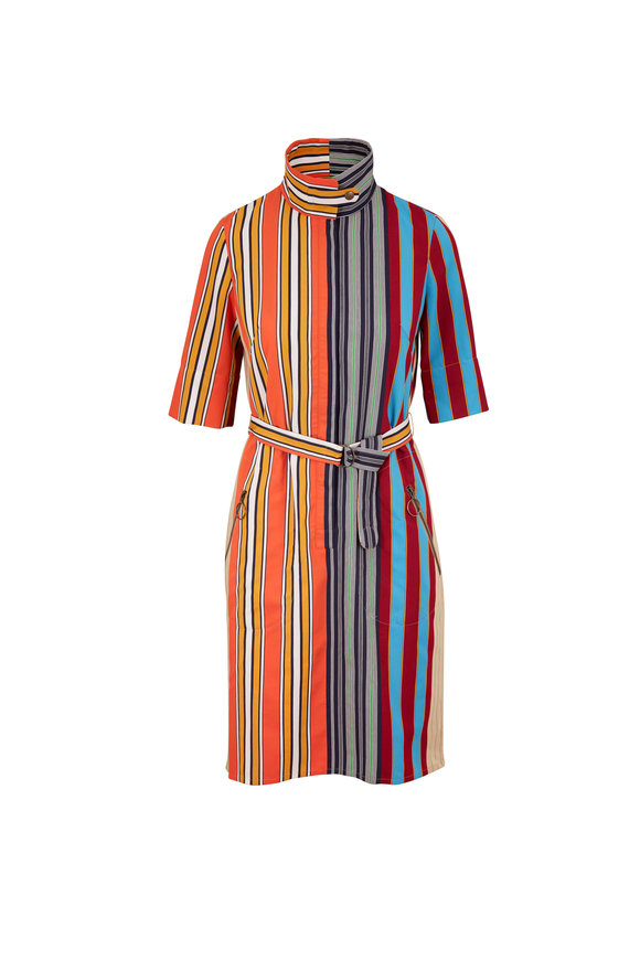 Akris Punto Parasol Striped Poplin Belted Dress