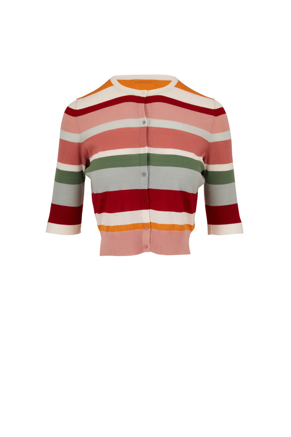 Akris Punto Multi-Stripe Lightweight Elbow Sleeve Cardigan