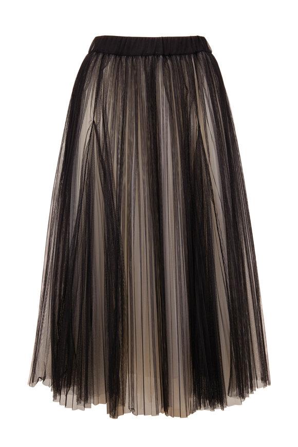 Brunello Cucinelli Black Tulle & White Underlay Long Skirt