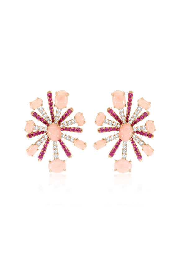 Sutra 18K Rose Gold Pink Sapphire & Opal Earrings