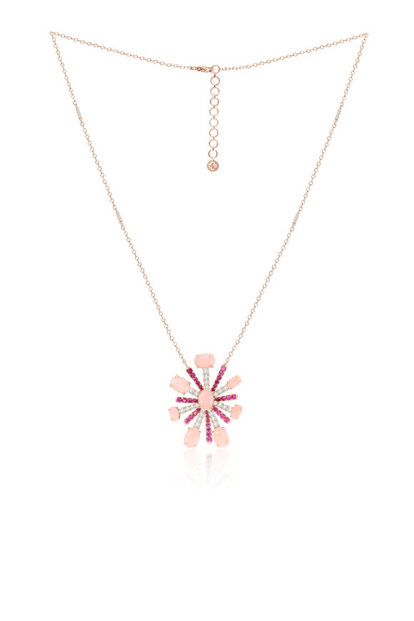 Sutra 18K Rose Gold Pink Sapphire & Opal Necklace