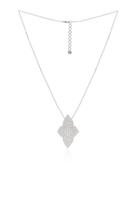 Sutra 18K White Gold White Diamond Necklace