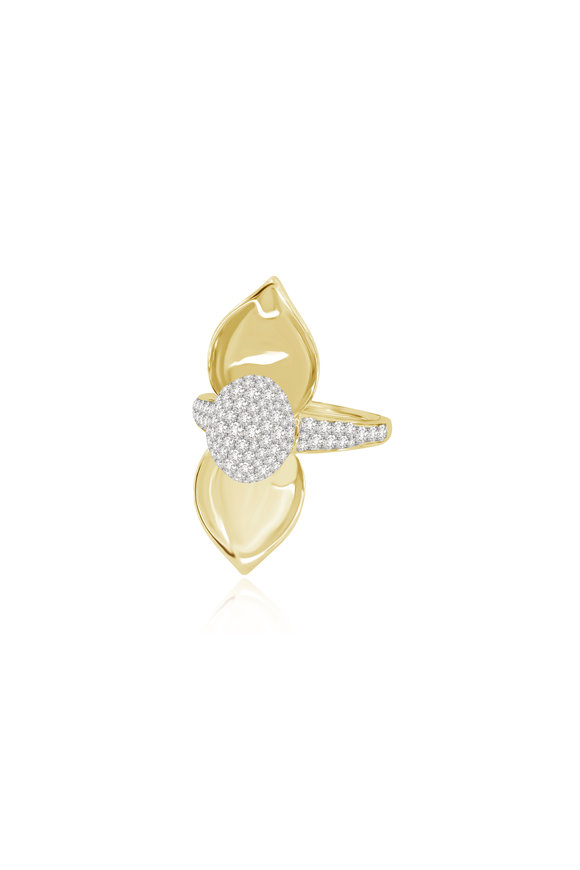 Sutra 18K Yellow & White Gold Diamond Cocktail Ring