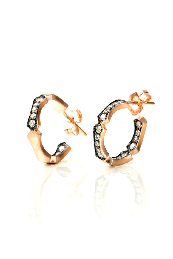 Sylva & Cie 18K Rose Gold Baby Bamboo Diamond Hoops