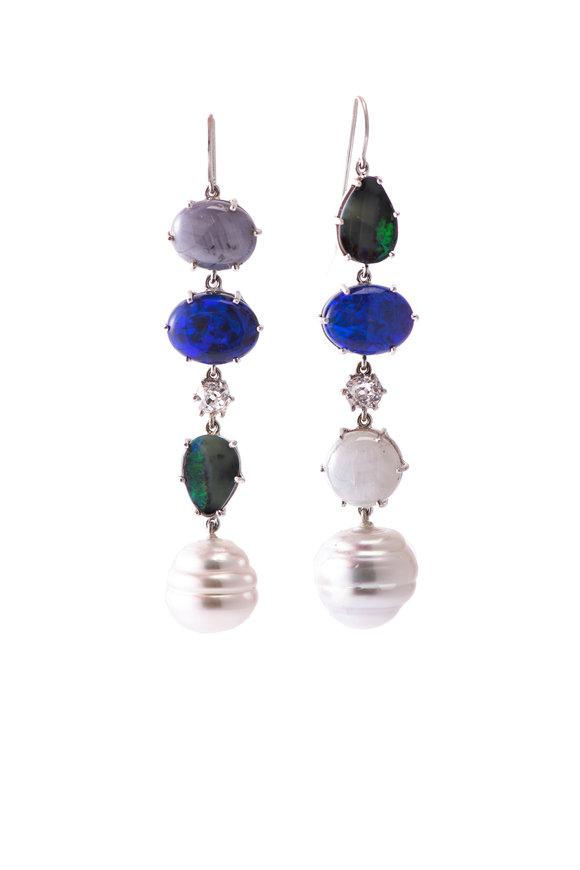 Sylva & Cie 18K White Gold Sapphire, Opal & Pearl Earrings