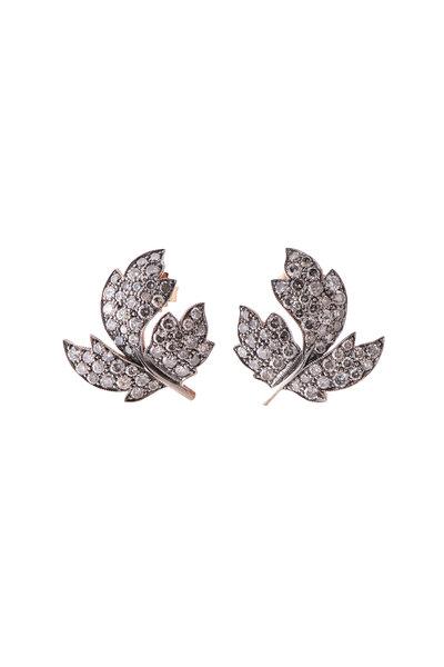 Sylva & Cie - 14K Rose Gold Gray Diamond Leaf Huggies