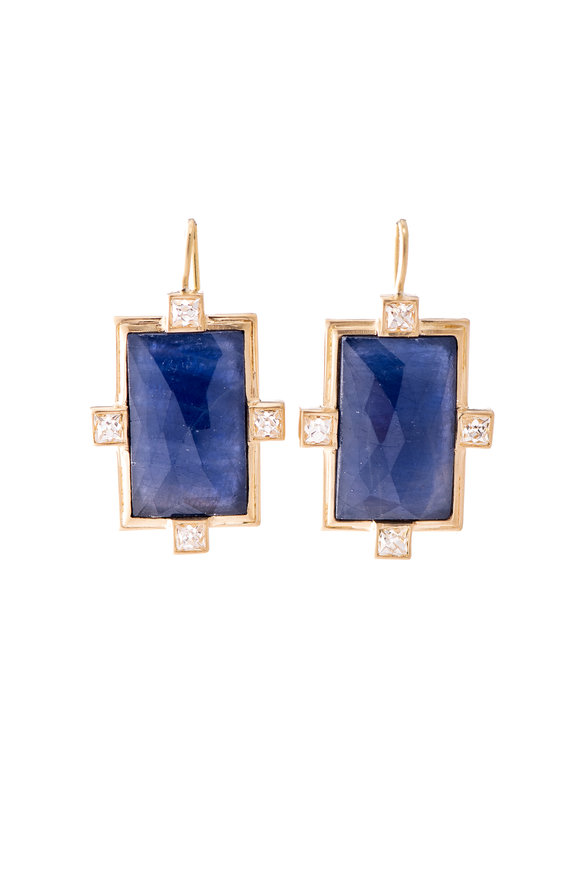 Sylva & Cie 18K Yellow Gold Faceted Sapphire Earrings