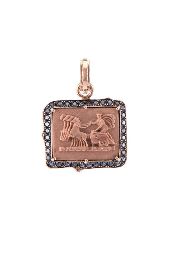 Sylva & Cie 14K Rose Gold Sapphire Cameo Pendant