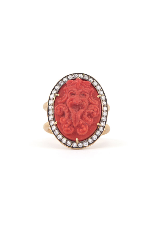 Sylva & Cie 18K Yellow Gold Venetian Cameo Ring