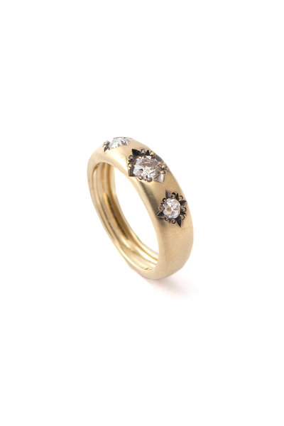 Sylva & Cie - 18K Yellow Gold  Diamond Gypsy Stack Ring