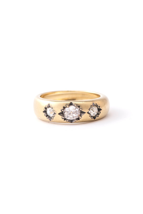 Sylva & Cie 18K Yellow Gold Diamond Gypsy Stack Ring