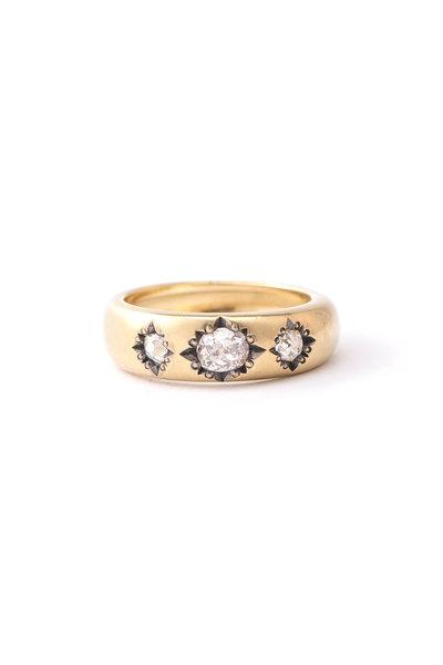 Sylva & Cie - 18K Yellow Gold Diamond Gypsy Stack Ring