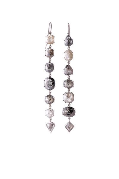 Sylva & Cie - 18K White Gold Rough Diamond Drop Earrings