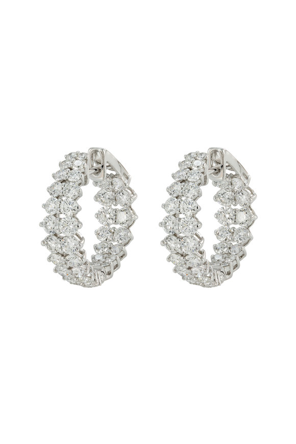 Etho Maria 18K White Gold Diamond Hoop Earrings