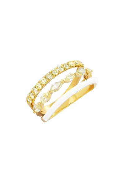 Etho Maria - 18K Yellow Gold Yellow & White Diamond Ring