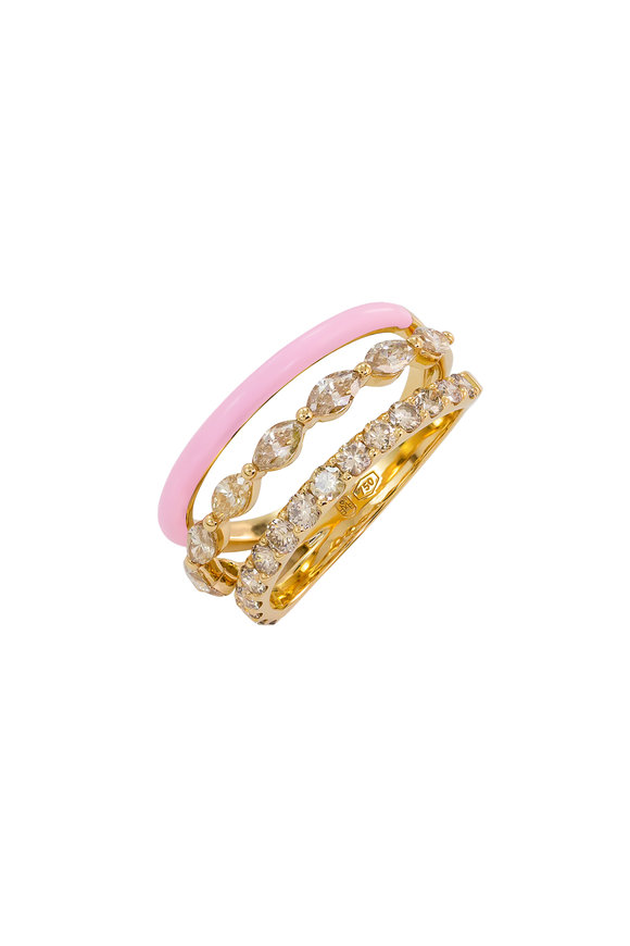 Etho Maria 18K Yellow Gold Brown & Pink Diamond Ring
