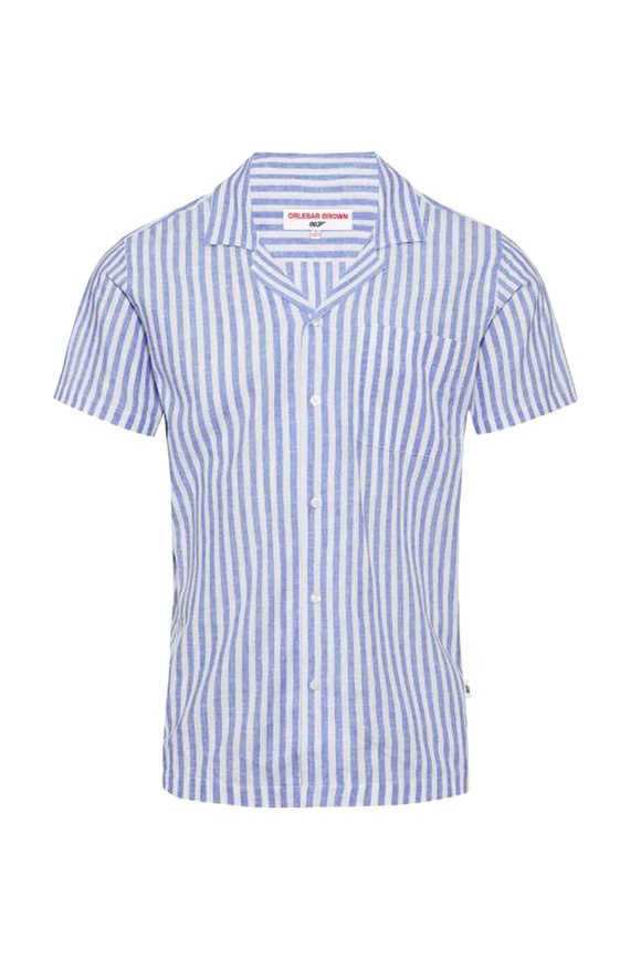 Orlebar Brown Thunderball Blue & White Striped Shirt