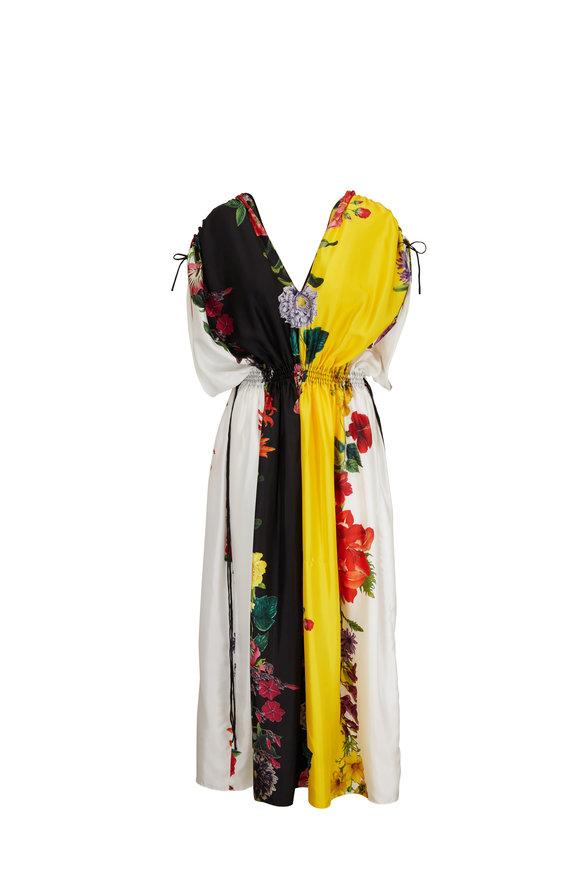 Oscar de la Renta Ivory Multi Floral Stripe Silk Twill Maxi Dress