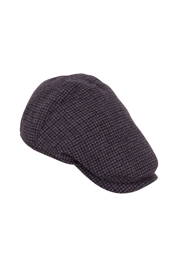 Wigens Navy Herringbone Wool Slim Cap