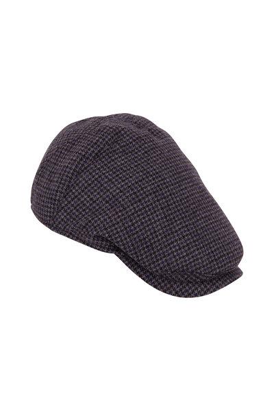 Wigens - Navy Herringbone Wool Slim Cap