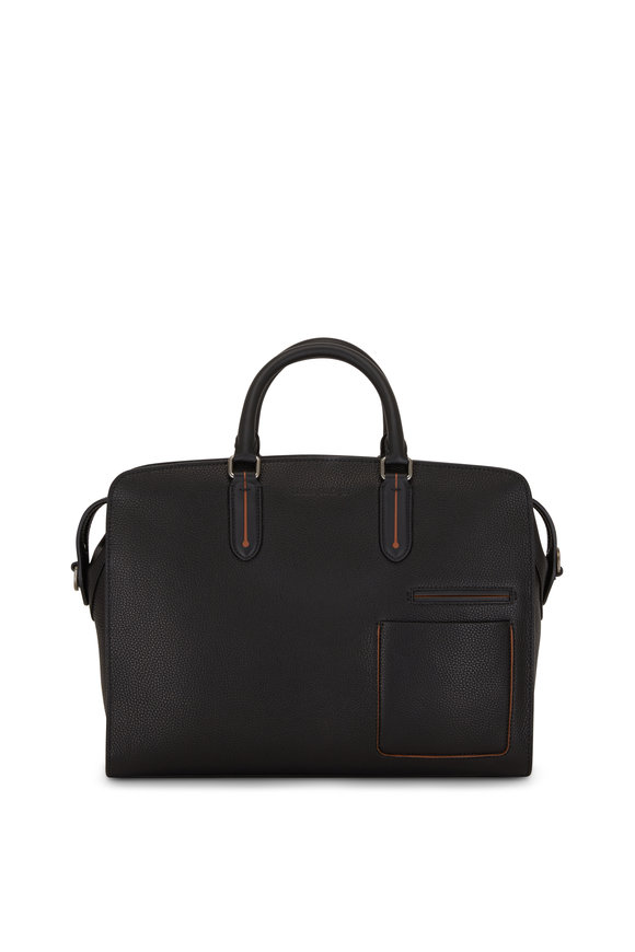 Ermenegildo Zegna Black Pebbled Leather Briefbag