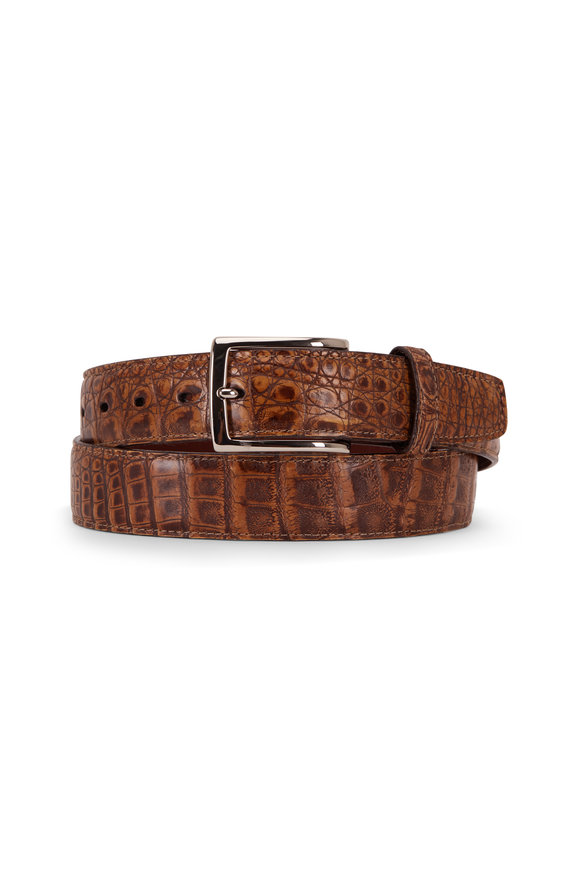 Torino Ant Pecan Brown Caiman Leather Belt