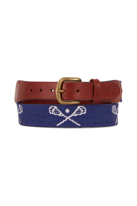 Smathers & Branson Blue Lacrosse Needlepoint Belt