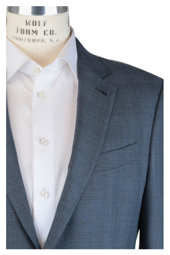 Ermenegildo Zegna Blue & Gray Tonal Plaid Wool & Silk Suit