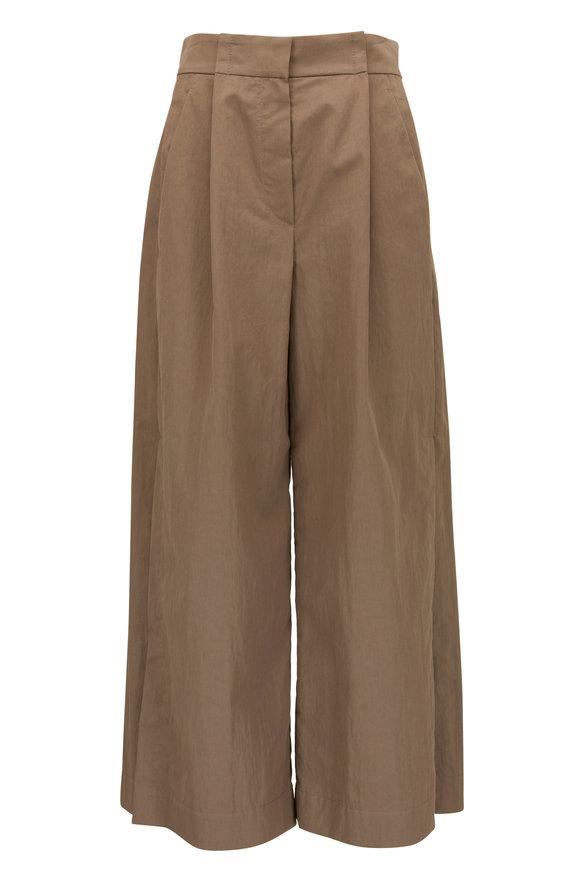 Brunello Cucinelli Khaki Crisp Cotton Split Wide Leg Pleated Pant