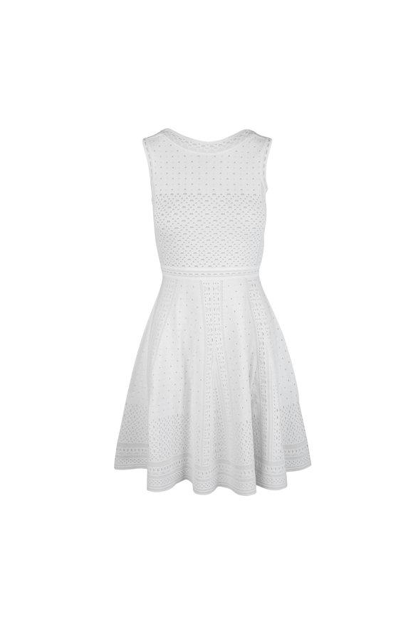 Paule Ka Ivory Knit Fit & Flare Dress