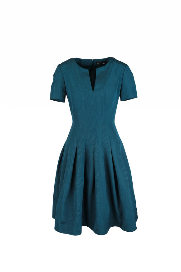 Oscar de la Renta Teal Short Sleeve Fit & Flare Dress