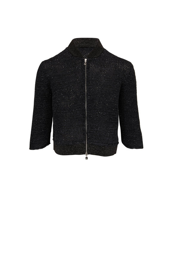 D.Exterior Black Lurex Cropped Knit Bomber